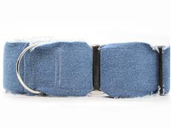 Blue Jean Baby Extra Wide Martingale Dog Collar & Leash