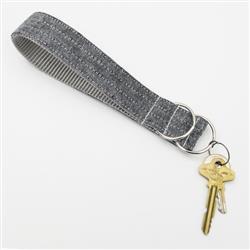Charcoal Linen Wristlet Key Fob