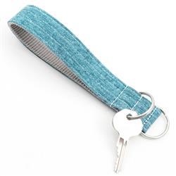 Malibu Teal Linen Wristlet Key Fob