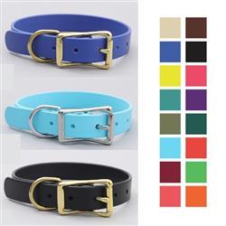Waterproof Belt Buckle Dog Collar | Stink Proof Leather Alternative Dog Collar (16 Colors)