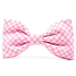 Carnation Gingham Dog Bow Tie