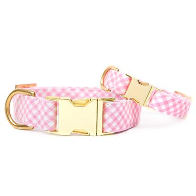 Carnation Gingham Dog Collar
