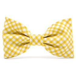Daffodil Gingham Dog Bow Tie