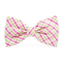 Spring Plaid Dog Bow Tie