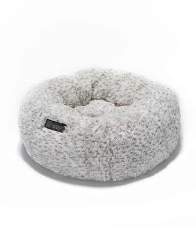 NANDOG ROUND SHAGGY MICRO FLEES PET BED - TWO TONE
