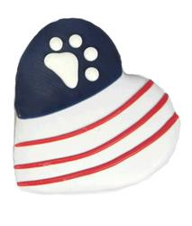 Patriotic Paw and Stripe Heart