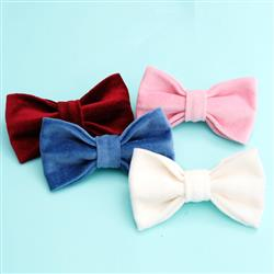 Velveteen Dog Collar Bow Tie (5 colors)