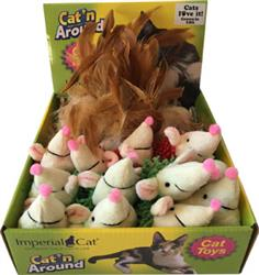 Feather Hedgehog / Feather Ball Assorted Cat Toy Display Tray (24 units)