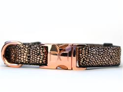 Monty Metallic Dog Collar - Rose Gold Metal Buckles