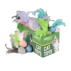 "4"" Felt Ball w/ Feathers Assorted Colors - 30pc. by Multipet - COPY"