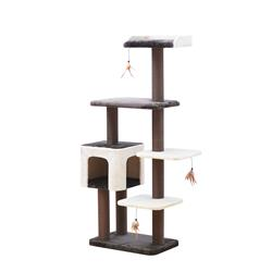 "Petpals Midnight Molly 5 level 60.5"" Cat Tree, with Condo, Perch, Paper Rope Posts, and Feathered Toys, brown and Beige"