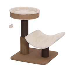 CUSHY- PetPals Cushy - Jute & Fleece Two Level Cat Tree with Perches, Scratching Posts, Bell Toy & Rubber Massager 17x17x21""