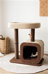 "Petpals Pod 27"" 2 level Cat Tree with Condo, Perch, Paper Rope Posts, and Toy"