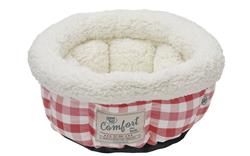 Plaid Cloud Small Dog/Cat Bed - Cranberry