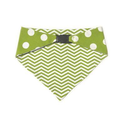 Lime Green/White Polka Dots & Chevron Reversible Bandana