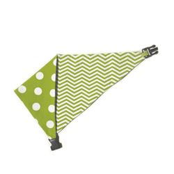 Lime Green/White Polka Dots & Chevron Reversible Bandana