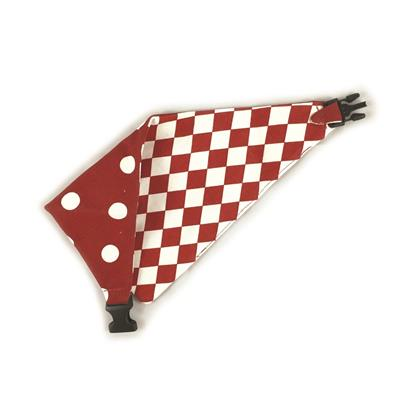 Red/White Checkerboard & Polka Dots Reversible Bandana