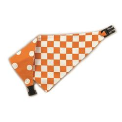 Orange/White Checkboard & Polka Dots Reversible Bandana