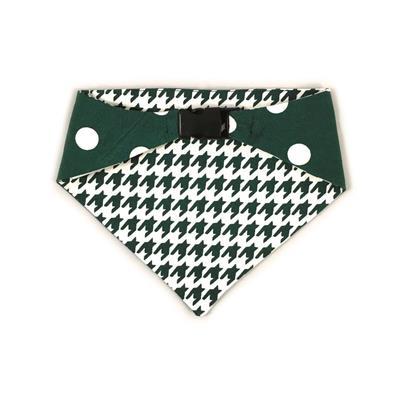 Dark Green/White Houndstooth & Polka Dots Reversible Bandana