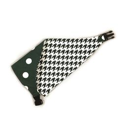 Dark Green/White Houndstooth & Polka Dots Reversible Bandana