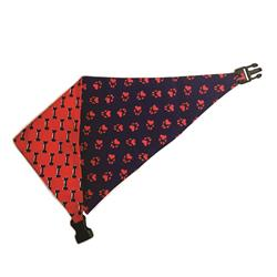 Blue/Red Paw Print & Bone Reversible Bandana
