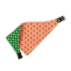 Christmas Reversible Bandana - Green Trees/ Sonwflakes & Red Candy Canes/Paws