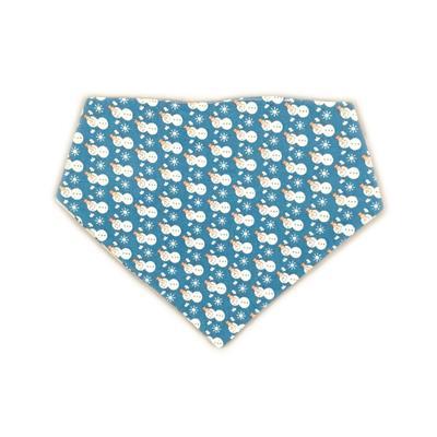 Holiday Reversible Bandana - Blue/White Snowmen & Sliver/Blue Snowflakes