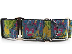 Butterfly Garden Extra Wide Martingale Dog Collar & Hot Pink Velvet Leash