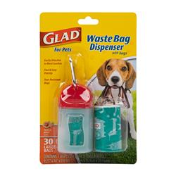 Glad for Pets Plastic Waste Bag Dispenser with Metal Belt Clip, Includes 30 Tropical Breeze Scented Bags