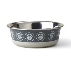 Samara Stainless Steel Dinner Bowl Collection in Gray Paws