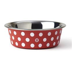 St. Barts Stainless Steel Dinner Bowl Collection in Red/White Polka Dots