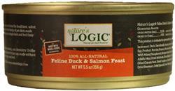 Nature's Logic Duck & Salmon Feline Feast - 5.5 oz cans - Case of 24