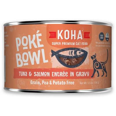 KOHA Poké Bowl Tuna & Salmon Entrée in Gravy for Cats