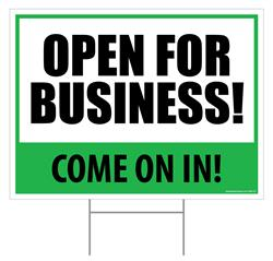 "Open For Business! / Outdoor Double Sided Sign - 18"" x 24"""