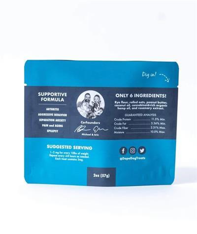 Peanut Butter 3mg CBD Calming Dog Treats - Bite Size Calming Crunchies, Trial Size 2oz. Bag
