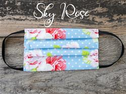 Reusable Fabric Face Mask with Pocket for Filter - Sky Rose