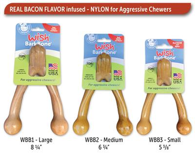 Wish BarkBone Nylon Chew - Real Bacon Flavor
