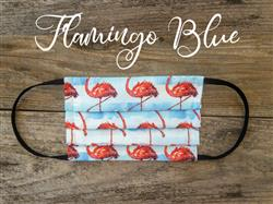 Reusable Fabric Face Mask with Pocket for Filter - Blue Flamingo Design