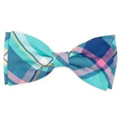 AQUA/NAVY PLAID BOW TIE