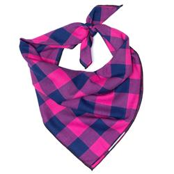 PINK/NAVY BUFFALO CHECK BANDANA