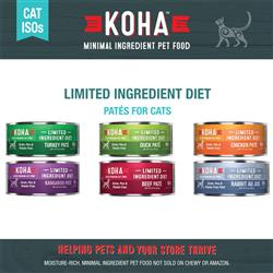 KOHA Pâté Wet Cat Food - 3 oz Cans - Limited Ingredient Diet ISO