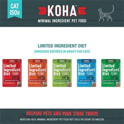 KOHA Shredded Entrées in Gravy Cat Food - 2.8 oz Pouches - Limited Ingredient Diet ISO