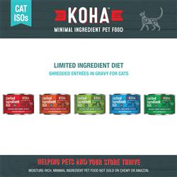 KOHA Shredded Entrées in Gravy Cat Food - 5.5 oz Cans - Limited Ingredient Diet ISO - COPY