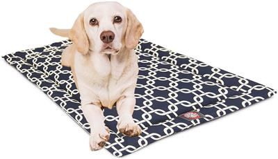 Navy Blue Links Crate Dog Bed Mat