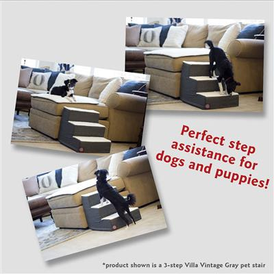 Navy Blue Faux Suede Pet Stairs (3 Steps)