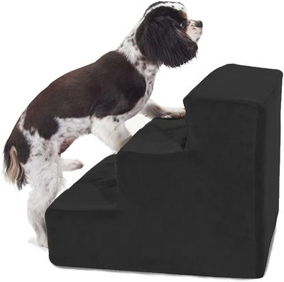 Black Velvet Faux Suede Pet Stairs (3 Steps)