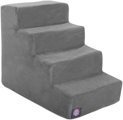 Gray Faux Suede Pet Stairs (4 Steps)