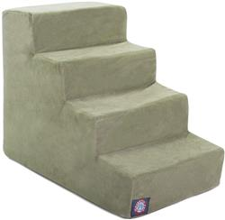 Sage Green Faux Suede Pet Stairs (4 Steps)