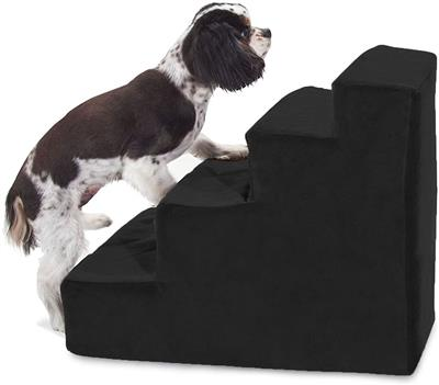 Black Velvet Faux Suede Pet Stairs (4 Steps)