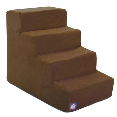 Chocolate Faux Suede Pet Stairs (4 Steps)